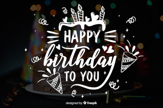 Happy birthday lettering concept with photo Free Vector