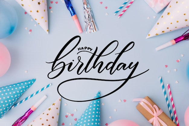Happy birthday lettering concept Free Vector