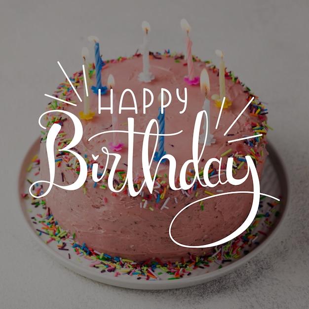 Happy birthday lettering design Free Vector