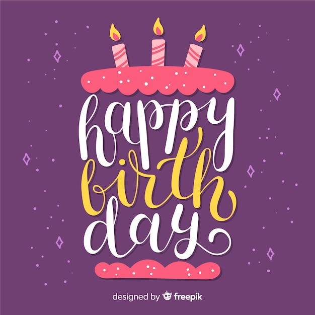 Happy birthday lettering hand drawn with cake Free Vector
