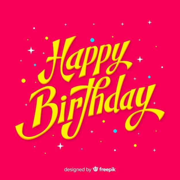 Happy birthday lettering message Free Vector