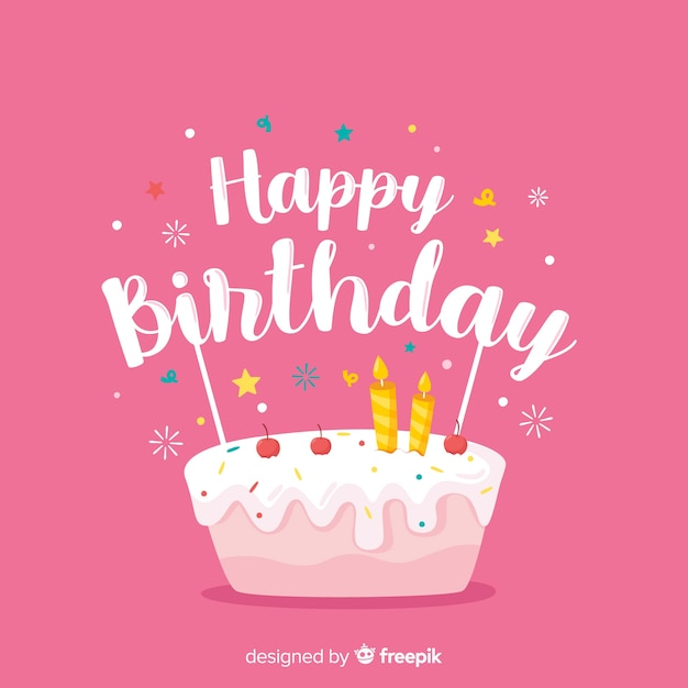 Happy birthday lettering on pink background Free Vector