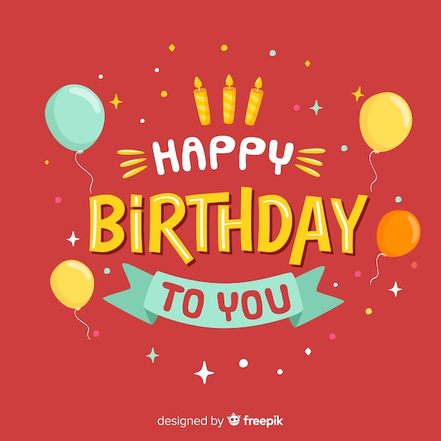 Happy birthday lettering on red background Free Vector