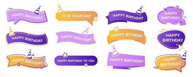 Happy birthday lettering set Free Vector