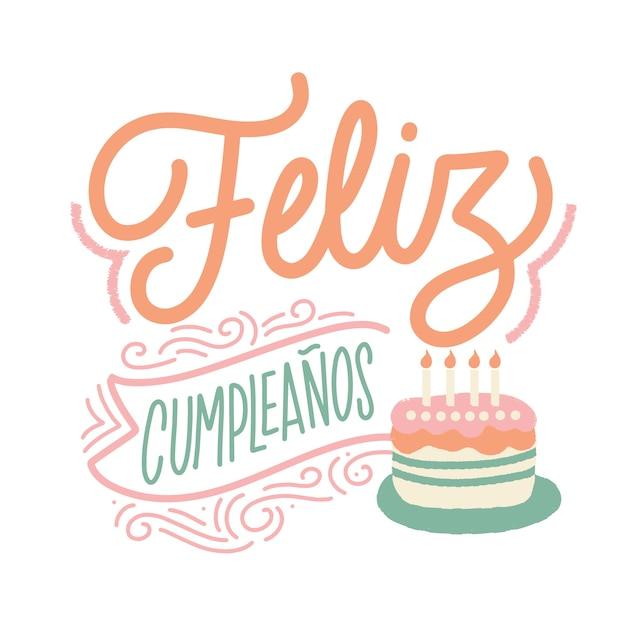 Surprising Happy Birthday Lettering In Spanish With Cake Free Vector Funny Birthday Cards Online Inifodamsfinfo
