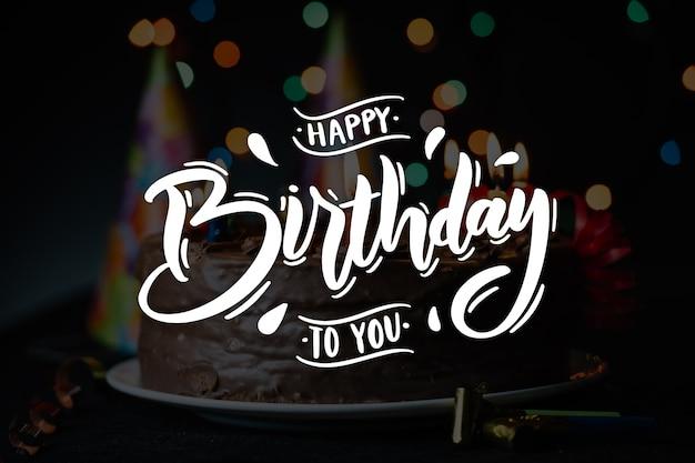 С днем рождения тема надписи Бесплатные векторы