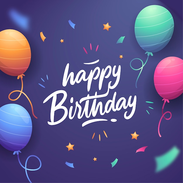 Happy birthday lettering theme Free Vector