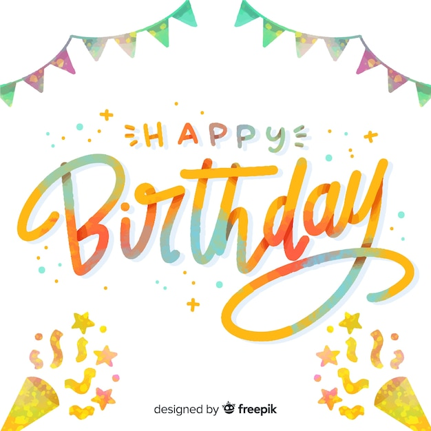 Happy birthday lettering with confetti Free Vector