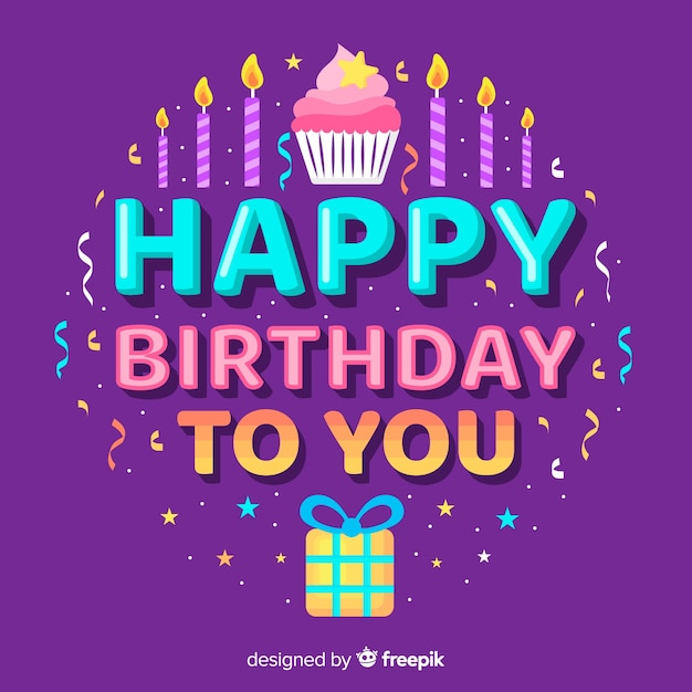 Happy birthday lettering with cupcake Vector | Free Download