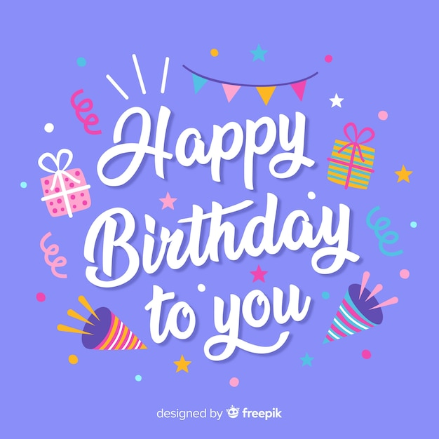 Happy birthday lettering with elements Free Vector