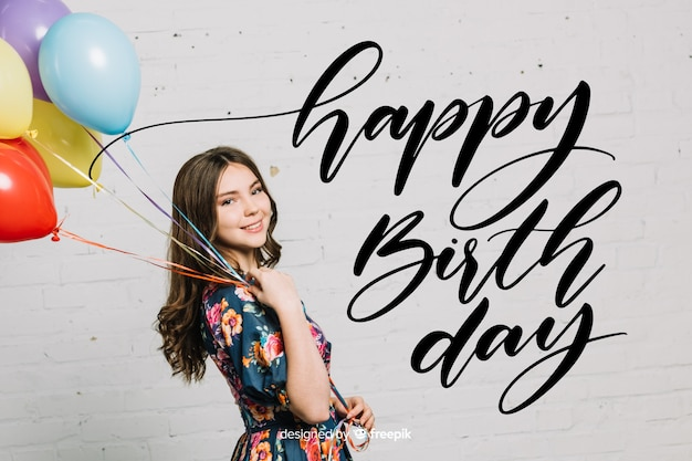 Happy birthday lettering with girl Free Vector