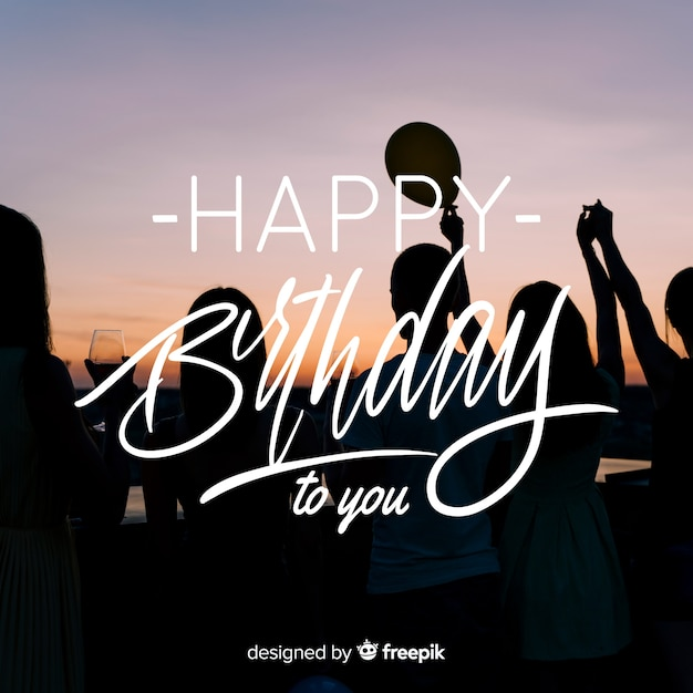 Happy birthday lettering with photo Free Vector