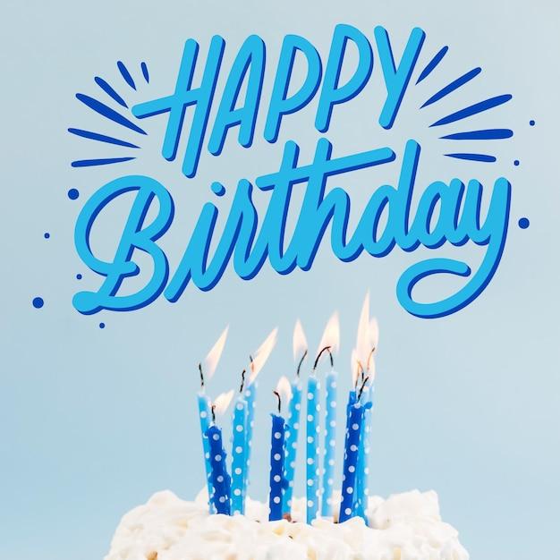 С днем рождения надпись с фото Бесплатные векторы