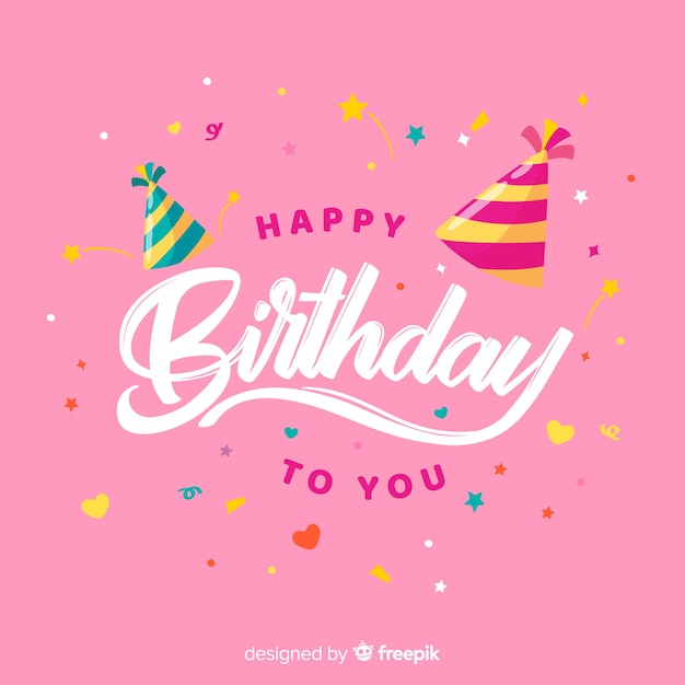 Happy birthday lettering with pink background Free Vector