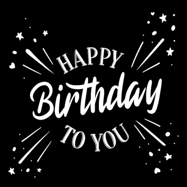 Happy birthday lettering with stars Free Vector