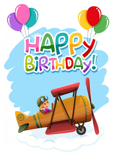 Happy birthday lettering with vintage plane illustration Free Vector