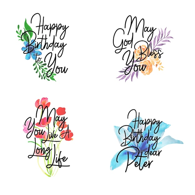Happy Birthday Logo Collection With Watercolor Floral Vector Free