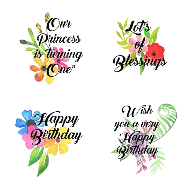 happy birthday logo collection with watercolor floral vector rh freepik com birthday logos for july birthday logo maker