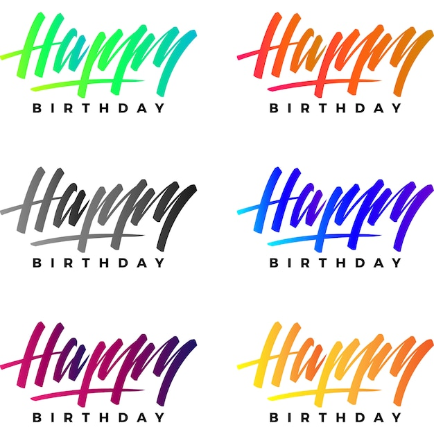 happy birthday logo collection vector free download