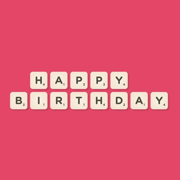 Happy birthday message written with tiles vector illustration Premium Vector