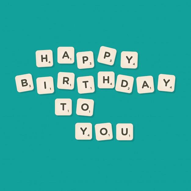 Happy birthday message written with tiles vector illustration Premium Vector