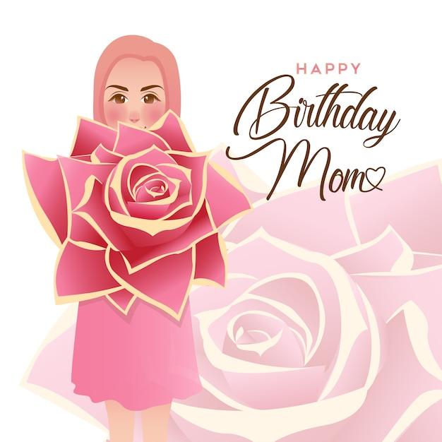 Happy birthday mom greeting card vector premium download happy birthday mom greeting card premium vector m4hsunfo
