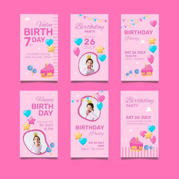 Happy birthday pack of invitation cards Free Vector