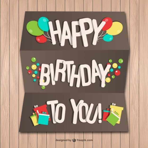 Happy Birthday Paper Card On Wood Wall Vector Free Download Happy Birthday Wishes On Wall