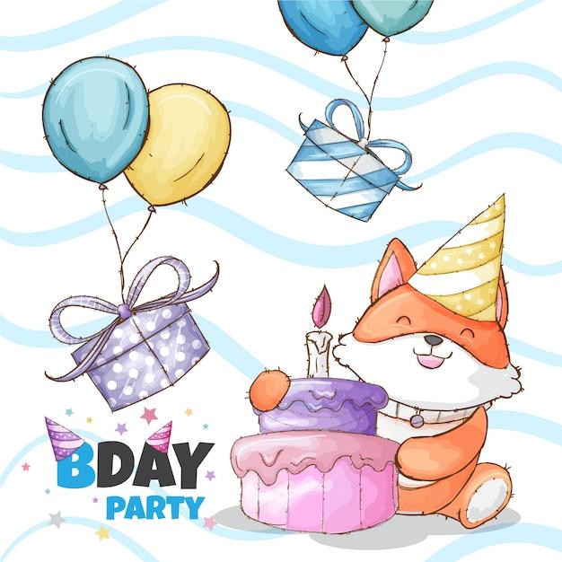 Happy birthday party baby fox hand drawn animal Premium Vector