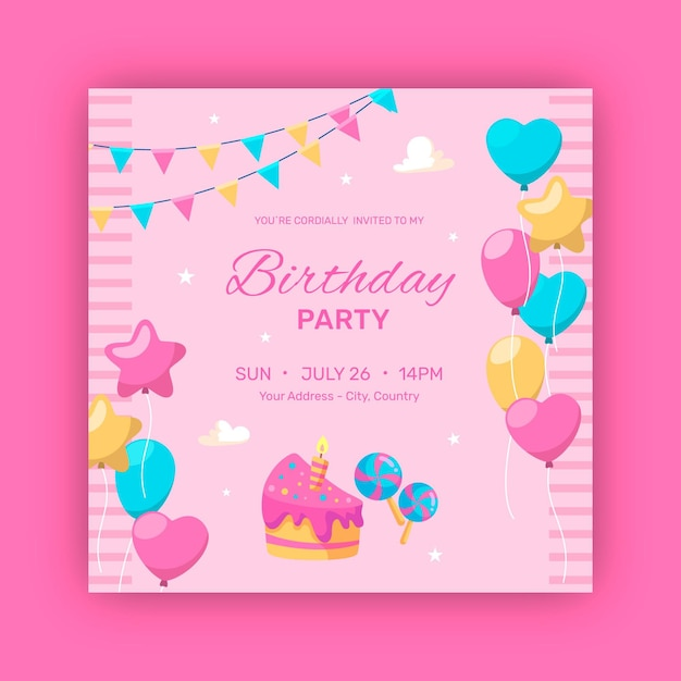 Happy birthday party balloons and garlands Premium Vector