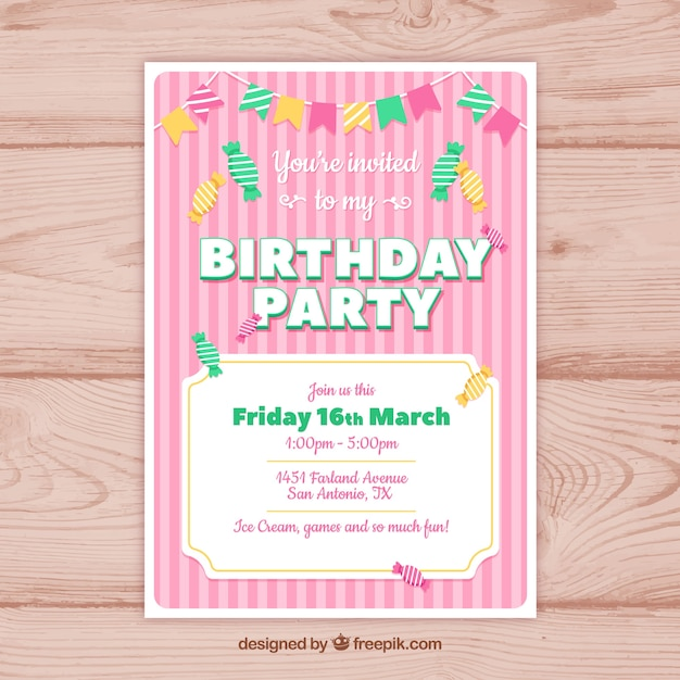 Happy birthday party card in flat style
