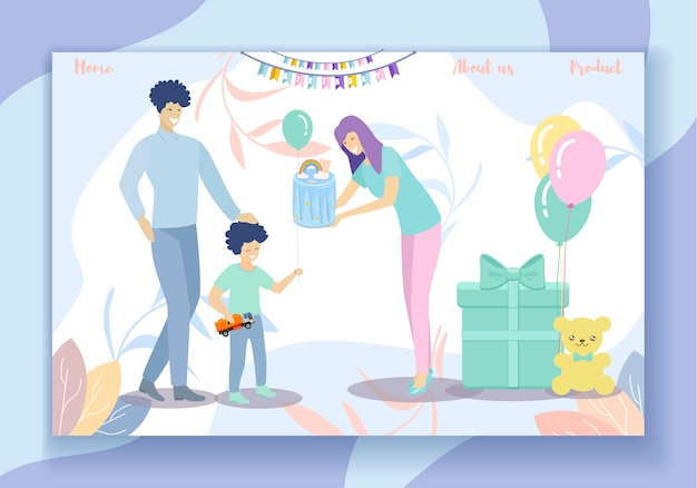 Happy birthday party. family fun, parents and son Premium Vector