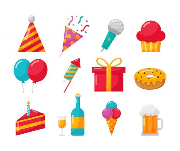 Happy birthday party icons set on white Premium Vector