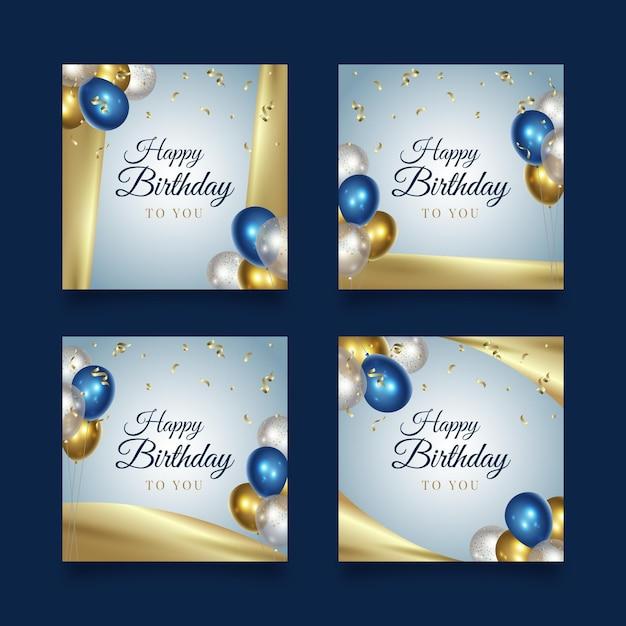 Messaggi di instagram di festa di buon compleanno Vettore gratuito