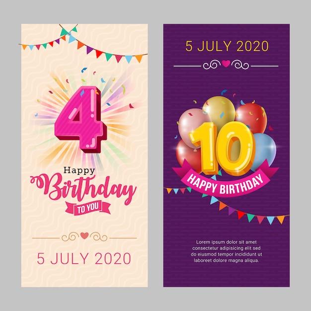 お誕生日おめでとうパーティー招待状カードのテンプレート Premiumベクター