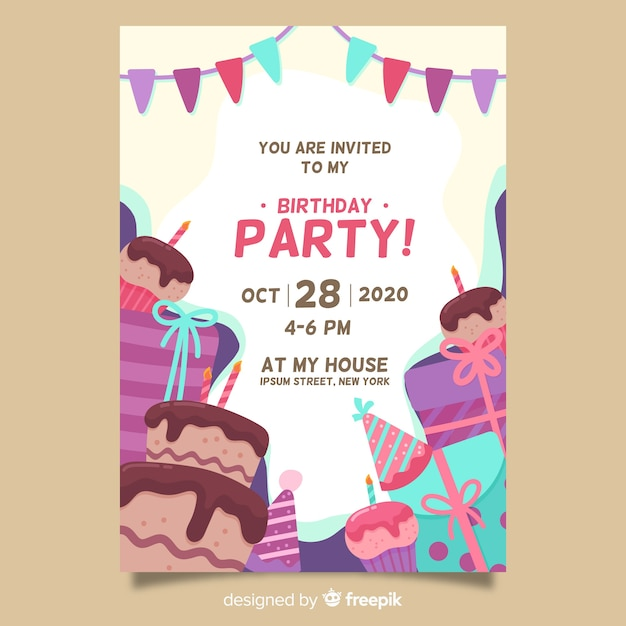 Happy birthday party invitation template | Free Vector