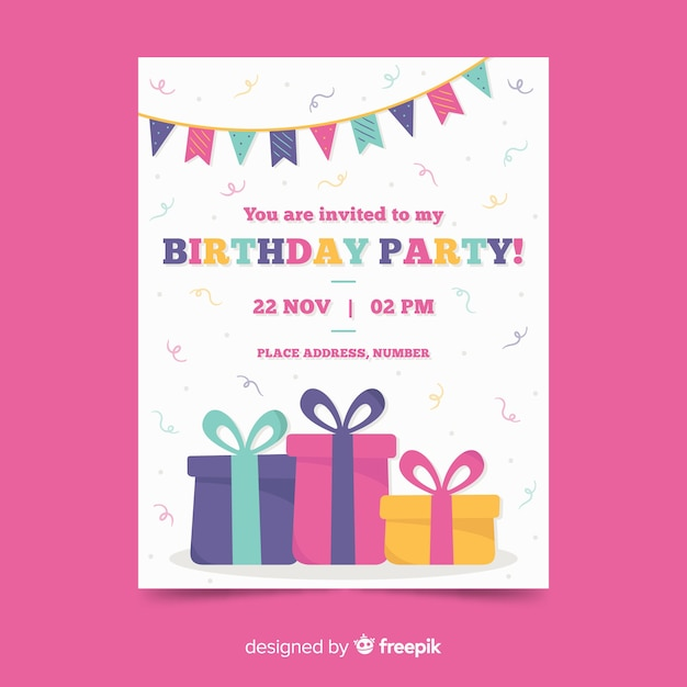 Happy birthday party invitation template Free Vector