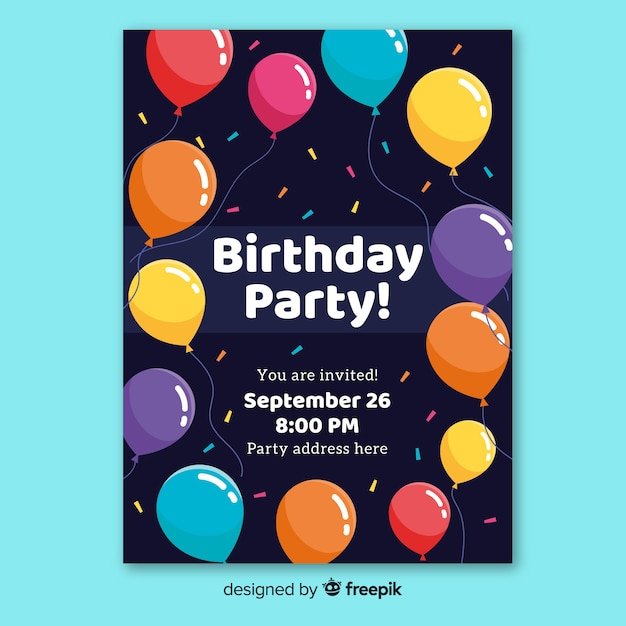 Happy birthday party invitation template Vector | Free Download