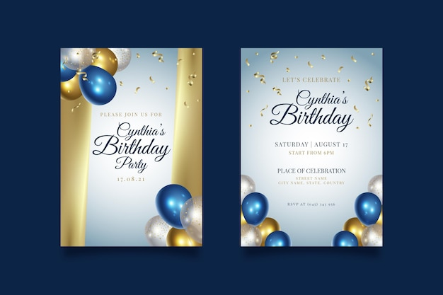 Happy birthday party invitation template Premium Vector