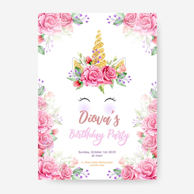 Happy birthday party poster template with cute unicorn graphic and flower frame Premium Vector
