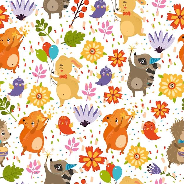 Happy birthday pattern, hedgehog, rabbit, fox, raccoon Free Vector