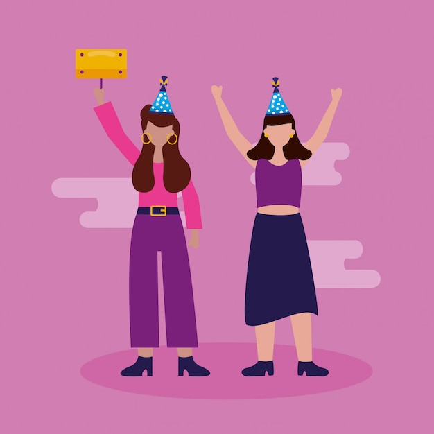 Happy birthday people in flat style Vector
