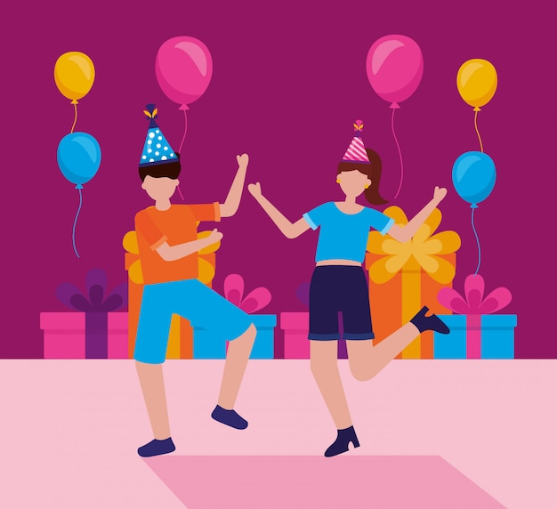 Happy birthday people in flat style Free Vector