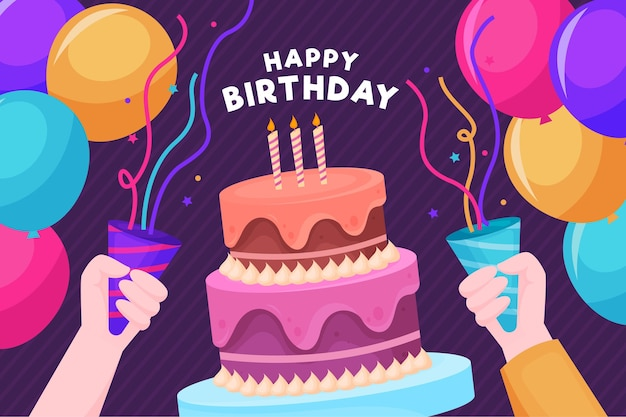 Happy birthday people having a party Free Vector