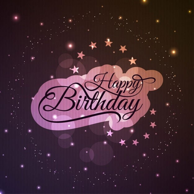 happy birthday pink label on a background with stars