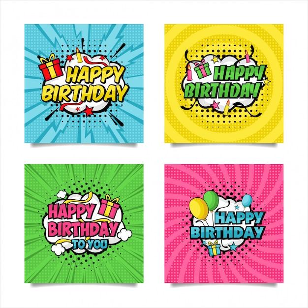 Happy birthday pop art style collection Premium Vector