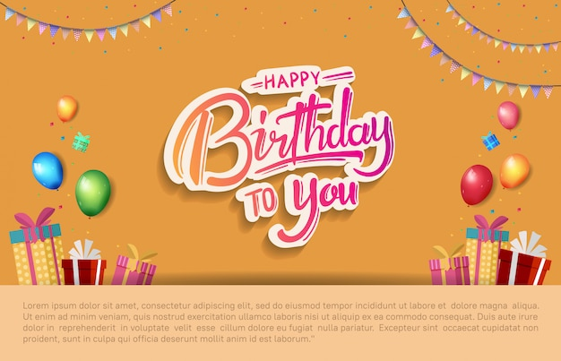 Happy birthday poster celebration illustration with birthday template Premium Vector