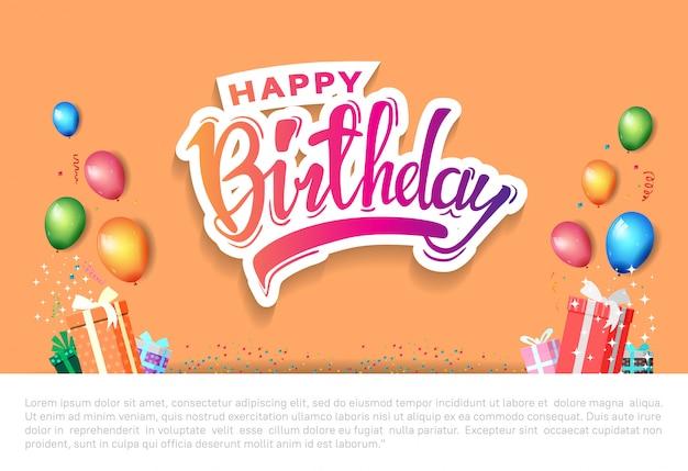 Happy birthday poster celebration illustration with birthday template Premium Vector