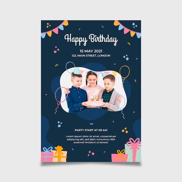 Happy birthday poster template Free Vector