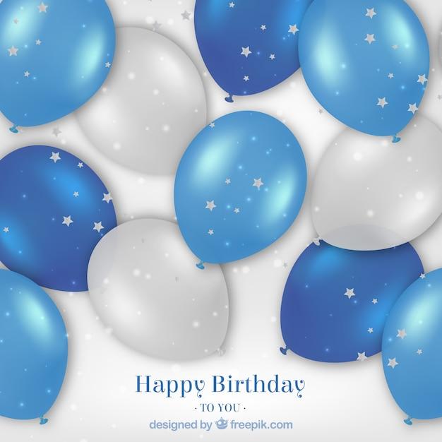 Happy birthday realistic balloons\ background